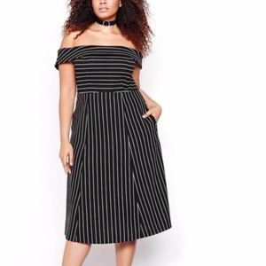 NWOT ABS Striped Midi Off The Shoulder Dress